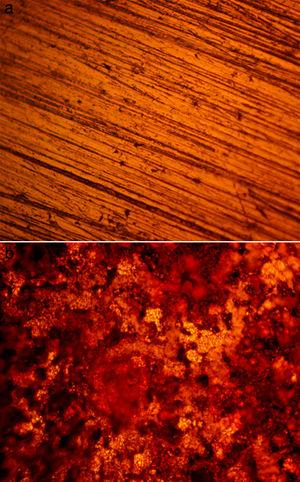 Optical microscopic image of HCS at mag. 40× (a) before corrosion, (b) after corrosion in 0% LCN/1M HCl.