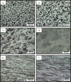 Optical micro-graphs from the grain structures of (a–d) annealed and (e and f) H34-initial temper wrought Al-Mg alloys at different magnifications.