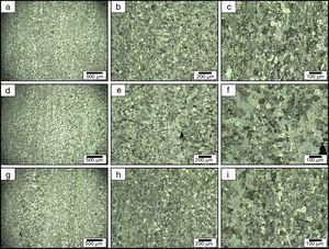 Optical microscopy images from the different deformed regions for the surface section of CGP Al-Mg alloy after one classical pass at different magnifications&#59; (a, d and g) 50×, (b, e and h) 100×, and (c, f and i) 200×.