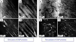 TEM images showing the formation of UFG structure for the CGP Al-Mg alloy after (a–d) one and (e–h) two passes&#59; (a, b, e and f) Bright- and (c, d, g and h) dark-field contrasts.