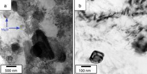 High magnification bright-field TEM images from the morphology and dispersion of Mg2Si precipitates within the Al-Mg alloy matrix for (a) one and (b) two passes samples.