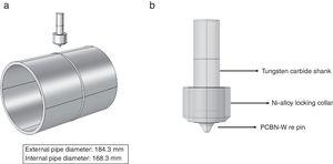 (a) Pipe dimensions and welding direction schematics. (b) Tool geometry dimensions.