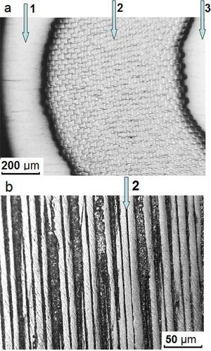 Metallographic data for (a) transverse and (b) longitudinal section of a superconducting Nb-Ti alloy cable at the intermediate stage of drawing upon the transition of Ø1.3→Ø1.2mm: 1 – copper shell, 2 – Nb-Ti filaments; 3 – copper core.