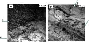 Electron microscopy images of the fine structure of engineering superconducting cable elements: (a) Nb-Ti fiber-copper matrix interface with a lack of Nb barrier&#59; (b) copper matrix-niobium barrier interface: 1 – Nb-Ti fibers&#59; 2 – copper matrix of Nb-Ti filament&#59; 3 – Nb barrier.