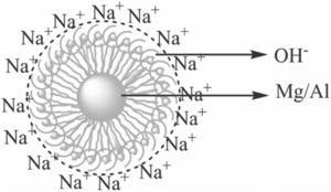 Schematic representation of in situ Na+ passivation layer around the LDHs nuclei [26].