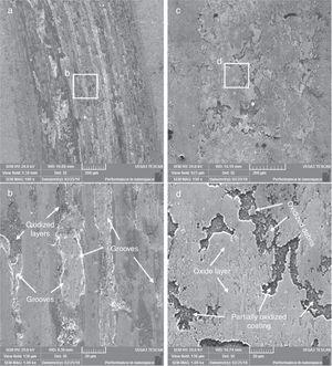 SEM micrograph of the wear track showing the oxide layer and wear debris of (a), (b) uncoated and (c), (d) AlCrN coated samples.