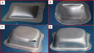 Experimentally formed square cups with different combinations of pressure and sealing force (a) incomplete forming, (b) failure at die entry, (c) failure at the bottom corner and (d) successfully formed cup.