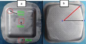 Comparison of experimentally formed flat bottom square cups in (a) conventional forming and (b) hydroforming.