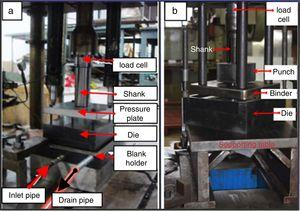 Experimental setup used for (a) hydroforming and (b) conventional deep drawing of square cups.