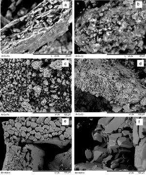 SEM micrographs of Al65Cu23Fe12 (a, c, e, f) and Al73Cu11Cr16 (b, d) powders milled for 120min in as-milled states (a, b) and after annealing in argon at 700°C (c, d) and 850°C (e, f).