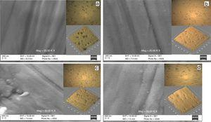 SEM and optical micrographs of the TiNx films on samples (a) TiN-S1, (b) TiN-S2, (c) TiN-S3 and (d) TiN-S4.