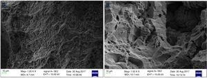 Representative SEM fractographs of the Al-Mg-Si alloy based composites reinforced with (a) 8wt.% steel particles, and (b) 8wt.% SiC particles.
