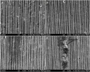 Wear craters in untreated specimens after 1200 revolutions: (a) 0.49N, 0.5g/cm3; (b) 0.49N, 1.0g/cm3; (c) 0.98N, 0.5g/cm3; (d) 0.98N, 1.0g/cm3.