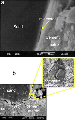 SEM fractographs of concrete samples ruptured at FSR=0.75 and 10Hz: (a) GCC and (b) PCC.