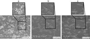 SEM micrograph of 70wt% of AlN samples sintered in different temperatures: (a) 1600°C; (b) 1700°C; and (c) 1800°C.