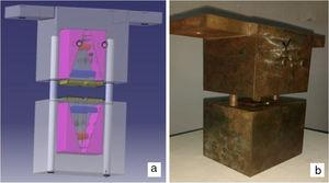 Shows fixture for compression test (a) 3D model (b) Actual part.