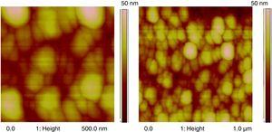 AFM (topography) images of BDFO/ZnO thin film of (a) 500nm×500nm, (b) 1μm×1μm scan size and scan height of 30nm.