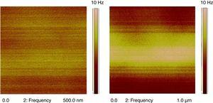 MFM images of BDFO thin films of 300nm thickness for scan area (a) 500nm×500nm, (b) 1μm×1μm.