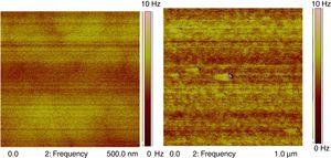 MFM images of BDFO/ZnO thin films of 300nm thickness for scan area (a) 500nm×500nm, (b) 1μm×1μm.