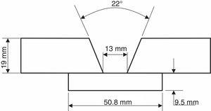 Weld joint geometry (mm).
