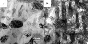 TEM image of the spray-cast AlCoCrCuFeNi HEAs. (a) TEM bright-field image of matrix with shallow linear trace which remained by spinodal decomposition structure&#59; (b) Corresponding regulated TEM bright-field image of (a). White strips exhibit original form of spinodal plates, and pilotaxitic feature could be observed in those plates.