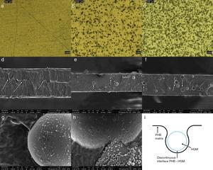 (A) optical micrographs of pure PHB and composites with (B) 1% and (C) 3% HGM&#59; (D) scanning electron micrographs of the fracture surface of the pure PHB and composites with (E) 1% and (F) 3% HGM&#59; scanning electron micrographs of the composites with (G) 1% and (H) 3% HGM, and (I) schematic of the discontinuous PHB-HGM interface.