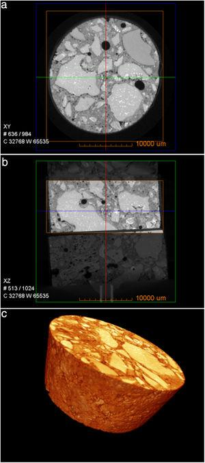 3DμCT reconstructed images for diffusion couple cylindrical-shaped sample (M1_T1100_S5B) before diffusion test: (a) XY view, (b) XZ view, and (c) XYZ view.
