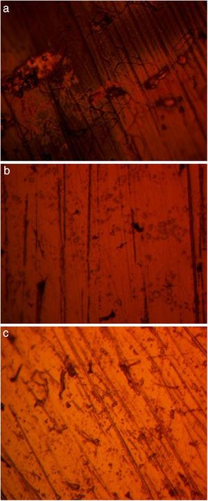 Micro-analytical images of (a) NO7718, (b) NO7208 and (c) SS439L at mag. 100× after corrosion in 4M H2SO4/0% NaCl.