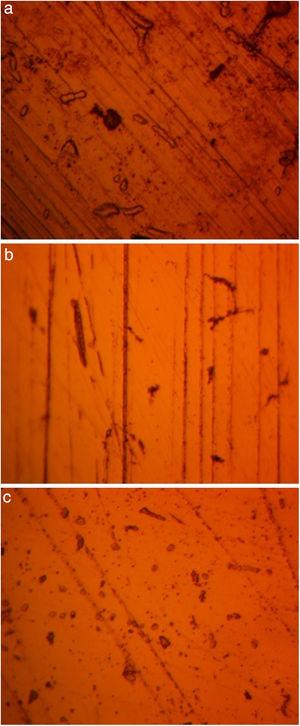 Micro-analytical images of (a) NO7718, (b) NO7208 and (c) SS439L at mag. 100× after corrosion in 4M H2SO4/1% NaCl.