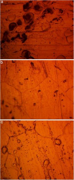 Micro-analytical images of (a) NO7718, (b) NO7208 and (c) SS439L at mag. 100× after corrosion in 4M H2SO4/6% NaCl.