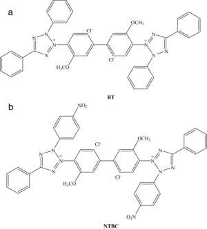Chemical molecular structures of two ditetrazole derivatives: (a) blue tetrazolium (BT); (b) nitrotetrazolium blue chloride (NTBC).