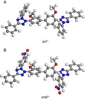 Optimized molecular structures of two ditetrazole derivatives: (a) BT2+; (b) NTB2+.