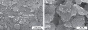 SEM images taken on (a) the initial 316L powder and (b) the 316L-3CNT powder blend obtained by milling.