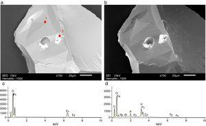 SEM images for hematite samples (a) BEC and (b) SEI images at 750× magnification. EDS results for points (c) 1 and (d) 2 marked on figure (a).