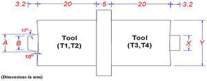Simple drawing of the FSW tools used in the first process.