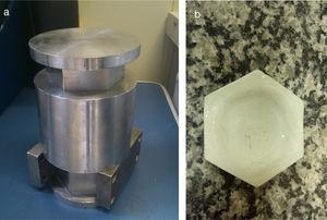 Ceramic powder pressing: (a) hexagonal steel mold&#59; (b) epoxy putty adaptation for the production of convex-faced pieces.