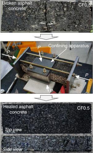 Self-healing process of completely broken asphalt concrete.