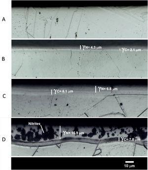 Cross-sectional micrographs of AISI 304 austenitic stainless steel: untreated (A), plasma nitrocarburized at 375°C (B), 430°C (C), and 475°C (D). Etched with modified aqua regia solution (50% HCl+25% HNO3+25% H2O).