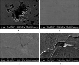 SEM micrographs of the 304SS surfaces: untreated (A), plasma nitrocarburized at 375°C (B), 430°C (C), and 475°C (D), after corrosion tests.