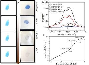 The photo-catalysis activity of PVA nanofibers and 9wt% ZnO, PVA/ZnO nanofibers.