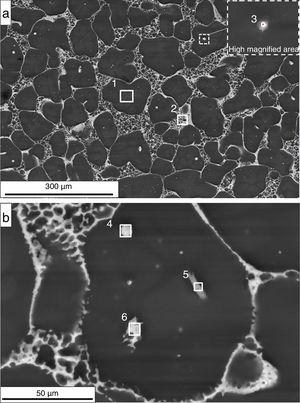 (a, b) SEM-BSE microstructure of EZ33A thixo-cast after T6 with marked EDS points of analysis.