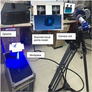 Set-up for scanning formed part with Smartscan3D-HE.