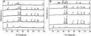 Powder X-ray diffraction (PXRD) patterns for phosphate adsorption by structural reconstruction on (A) [Zn–Al]c300 and (B) [Zn–Al]c600. (0): pristine [Zn–Al]-LDH&#59; (1): 0.83mM PO43−&#59; (2): 3.31mM PO43−&#59; (3): 16.55mM PO43−&#59; (4): 33.10mM PO43−. (#): ZnO&#59; (−): Zn2P2O7&#59; (*): ZnAl2O4&#59; (+): ZnH2P2O7&#59; (O): Zn3(PO4)2.