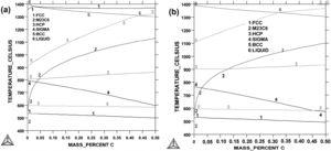Calculated equibilirum phase diagrams for Fe–18Cr–12Mn–CN steels with: (a) N=0.15wt% and (b) N=0.30wt%, by varying C content.