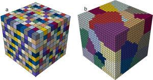 (a) Voxel RVE model with 1000 cubic element, where each grain was represented by one cubic element and different colors represent different grains. (b) Grain-based RVE model which contains 50 grains, where each grain was described by many cubic elements.