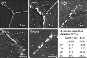 Evolution of grain boundary precipitation in alloy 617B during aging.