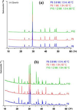 DRX patterns of precipitates (a) and filtrates (b) obtained from PG conversion for stoichiometric K2CO3 concentrations equal to the concentration limit.