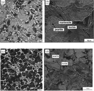 The typical as-cast microstructures of the Fe-B alloys: [44,51]. low magnification Fe-Cr-B alloy [44]; (b) high magnification Fe-Cr-B alloy [44]; (c) low magnification Fe-C-B alloy [51]; (d) high magnification Fe-C-B alloy [51].