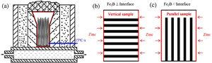 The set-up of directional solidification (DS) equipment of Fe-B alloy and corrosion manners of DS Fe-B alloy in liquid zinc [39]: (a) Device of DS; (b) Vertical sample with Fe2B [002] orientation perpendicular to corrosion interface; (c) Parallel sample with Fe2B [002] orientation parallel to corrosion interface.