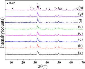 XRD patterns of the as-calcined HAP powder and the HAP powder obtained at different calcination temperatures for 4h: (a) as-calcined, (b) 200°C, (c) 400°C, (d) 600°C, (e) 700°C, (f) 750°C, (g) 800°C and (h) 850°C.